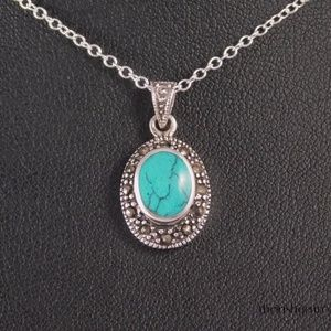Jewelry - Marcasite & Turquoise Oval Necklace